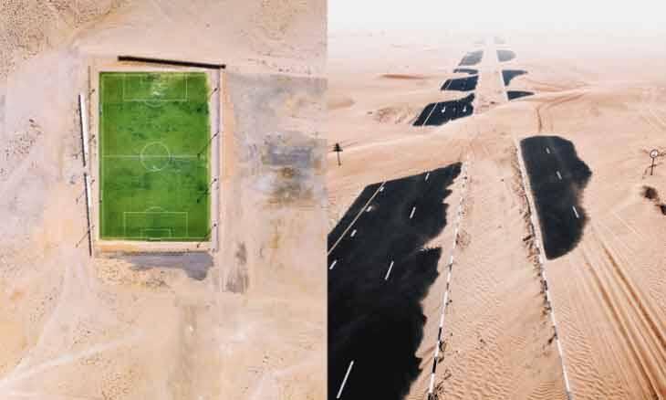 Drone capta imagens que revelam a força da natureza em Dubai e Abu Dhabi