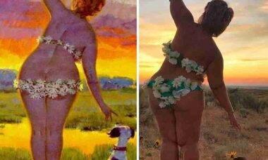 Mulher recria em fotos imagens de pin-up plus size dos anos 1950