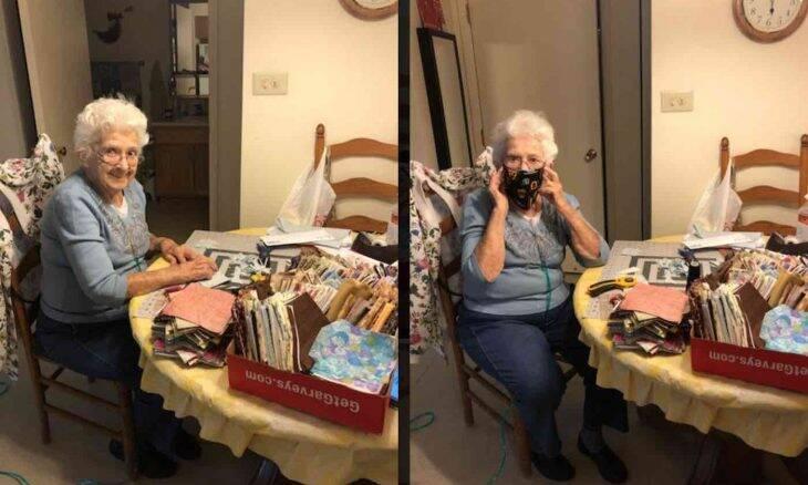 Idosa de 89 anos costura mais de 600 máscaras de proteção