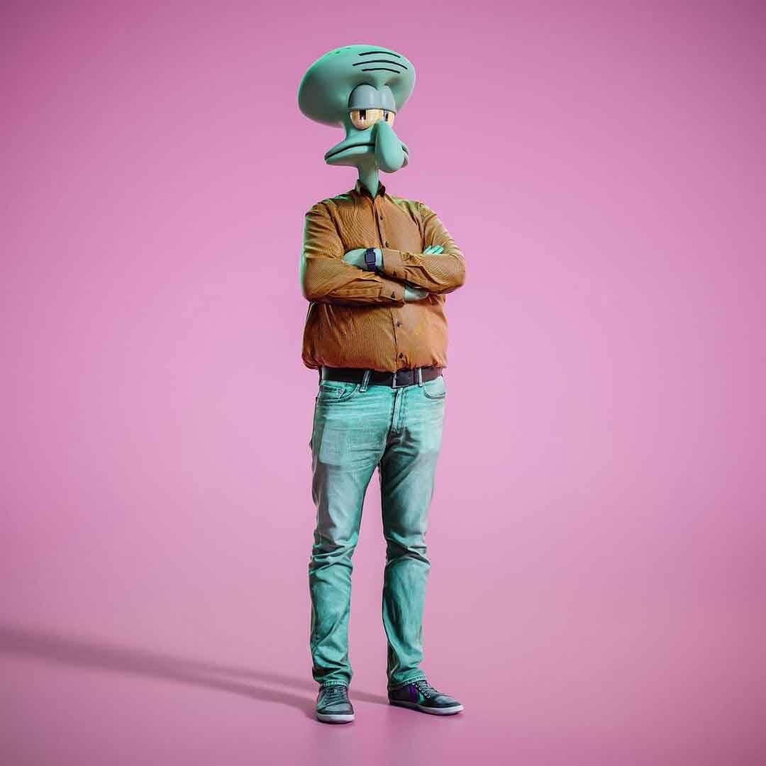 Artista imagina personagens de desenhos animados com corpos reais. Foto: Reprodução Instagram