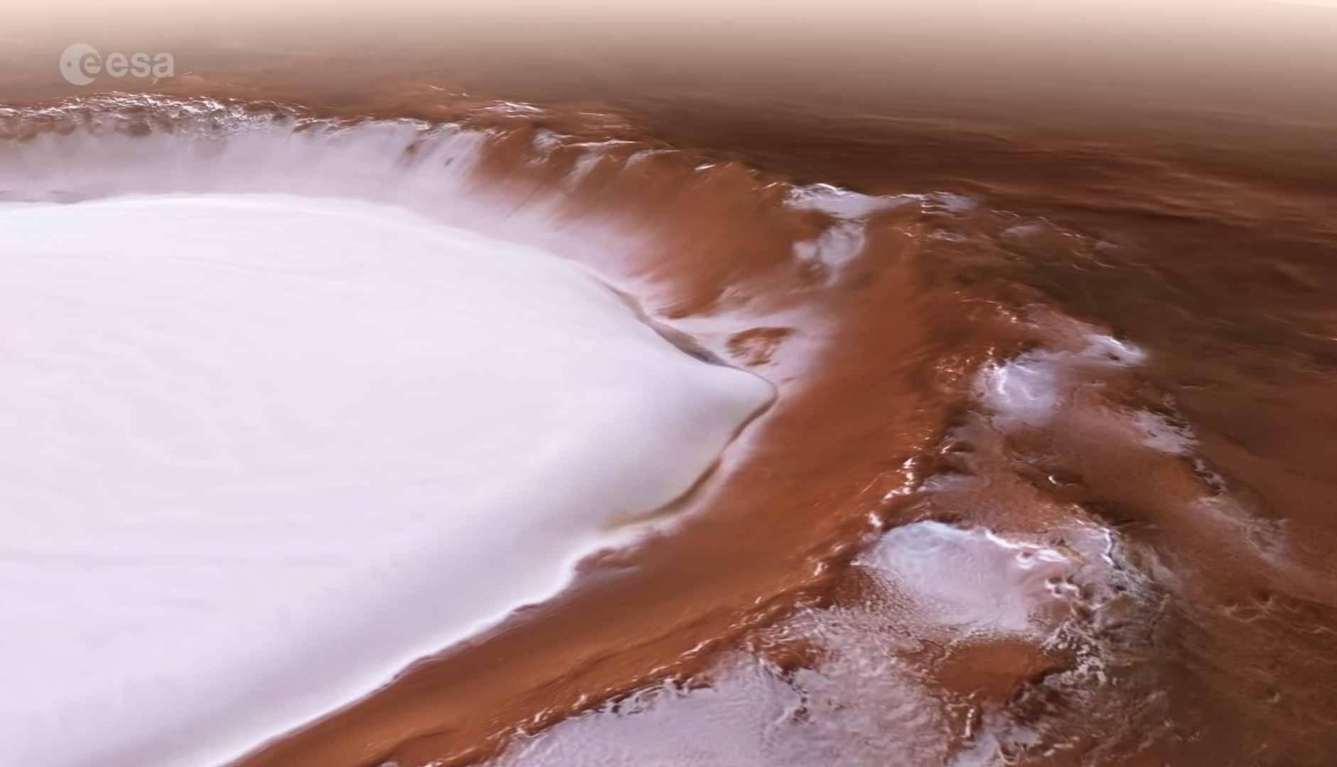 Vídeo mostra uma cratera congelada em Marte. Foto: Reprodução Youtube