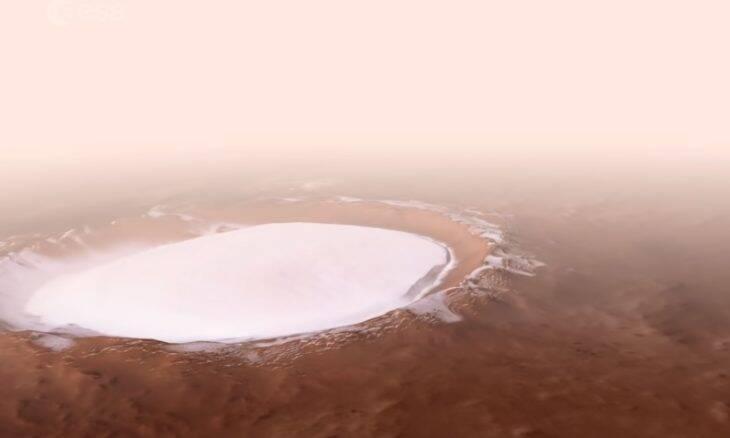 Vídeo mostra uma cratera congelada em Marte