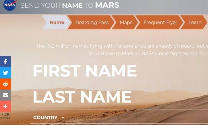 Nasa abre site para quem quiser enviar nome para Marte