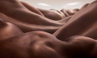 Fotógrafo cria paisagens com corpos humanos