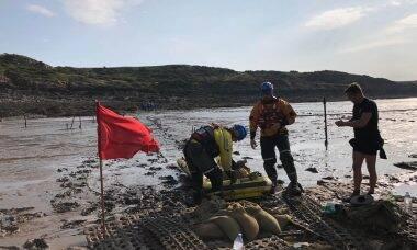 Maré baixa expõe bomba da Segunda Guerra em praia