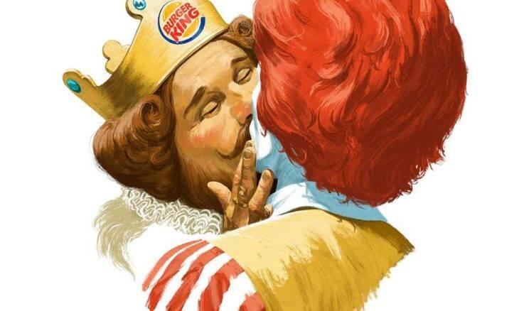 Rei do Burger King e Ronald McDonald se beijam em propaganda