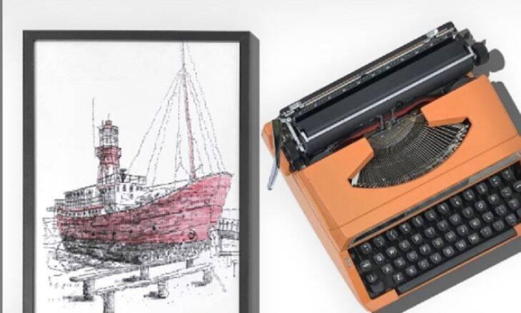 Artista cria desenhos usando máquina de escrever