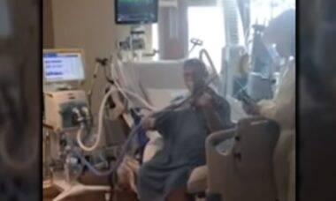 Músico com covid-19 toca violino para agradecer profissionais da saúde