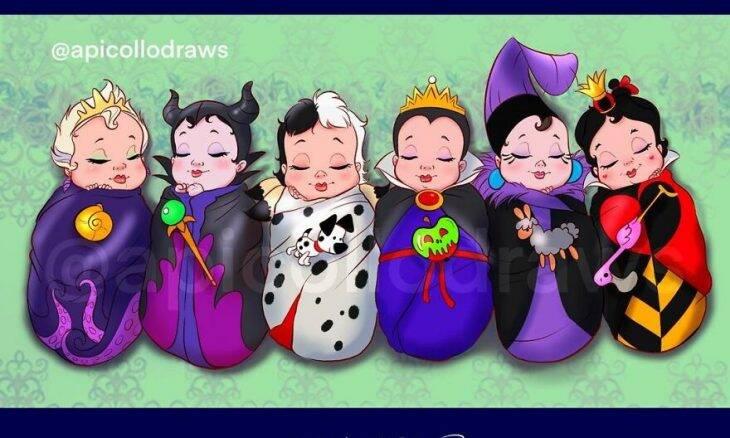 Artista gráfico imagina como eram as vilãs e princesas da Disney quando bebês