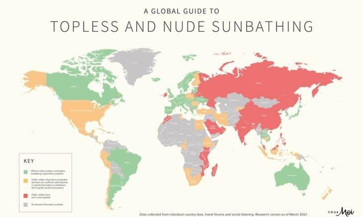 Conheça a lista dos países que permitem a prática de nudismo e topless